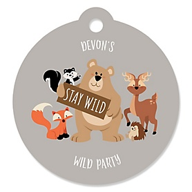 Stay Wild - Forest Animals - Round Personalized Woodland Party Tags - 20 ct