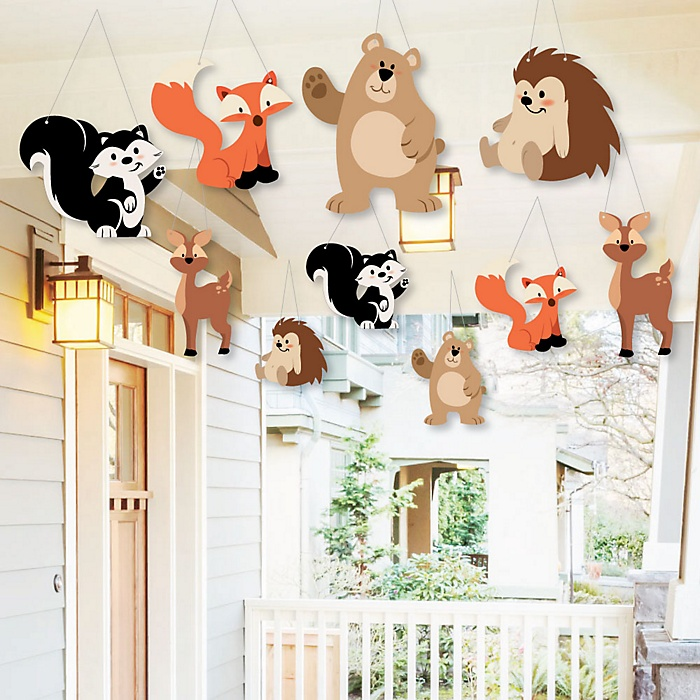 Hanging Stay Wild - Forest Animals - Outdoor Woodland Baby Shower or Birthday Party Hanging Porch and Tree Yard Decorations - 10 Pieces