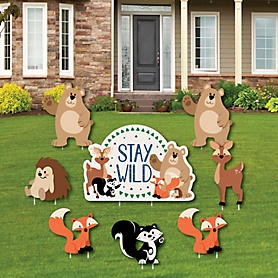 Stay Wild - Forest Animals - Yard Sign and Outdoor Lawn Decorations - Woodland Baby Shower or Birthday Party Yard Signs - Set of 8