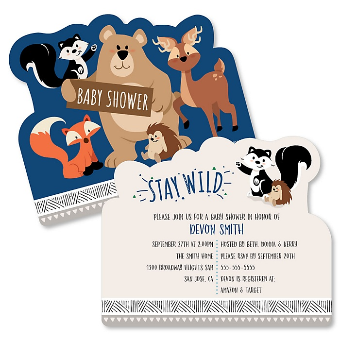 Stay Wild - Forest Animals - Shaped Woodland Baby Shower invitations - Set of 12