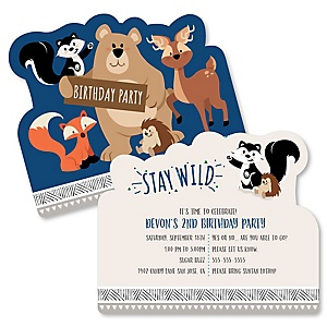 Stay Wild - Forest Animals - Shaped Woodland Birthday Party Invitations - Set of 12