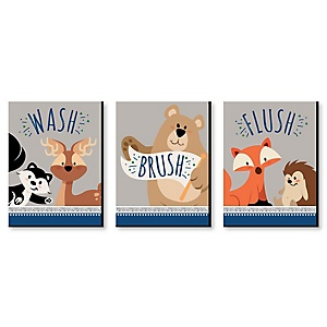 Stay Wild - Forest Animals - Kids Bathroom Rules Wall Art - 7.5 x 10 inches - Set of 3 Signs - Wash, Brush, Flush