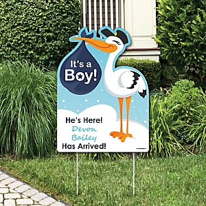 Boy Special Delivery - Baby Arrival Sign - Blue Stork Baby Announcement Yard Sign