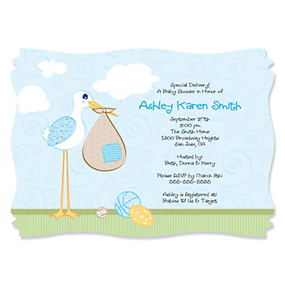 stork baby boy  personalized baby shower invitations, Baby shower invitation