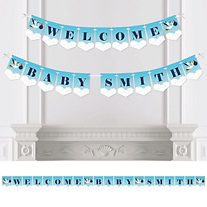 Boy Special Delivery - Personalized Blue Stork Baby Shower Bunting Banner & Decorations