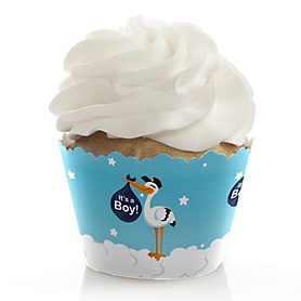 Boy Special Delivery - Blue Stork Baby Shower Decorations - Party Cupcake Wrappers - Set of 12