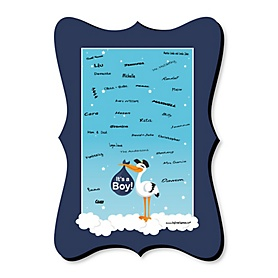 Boy Special Delivery - Unique Alternative Guest Book - Blue Stork Baby Shower Signature Mat