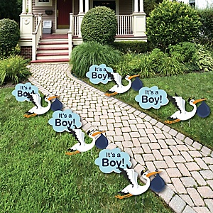 Boy Special Delivery – Baby Announcement Lawn Decorations - Outdoor Blue Stork Baby Shower Yard Decorations - 10 Piece