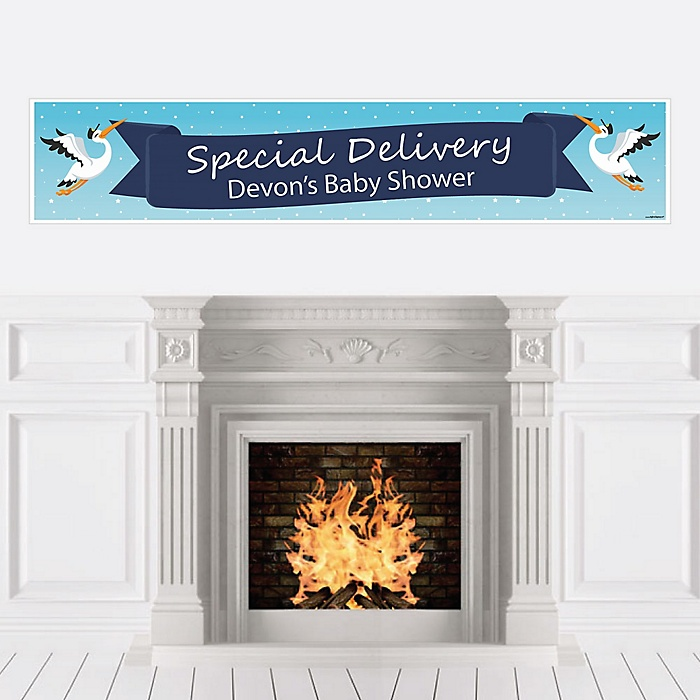 Boy Special Delivery - Personalized Blue Stork Baby Shower Banner