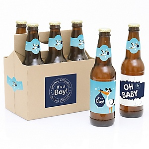 Boy Special Delivery - Decorations for Women and Men - 6 Blue Stork Baby Shower Beer Bottle Labels and 1 Carrier - Boy Baby Gift