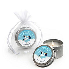 Boy Special Delivery - Personalized Blue Stork Baby Shower Candle Tin Favors - Set of 12