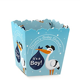 Boy Special Delivery - Party Mini Favor Boxes - Personalized Blue Stork Baby Shower Treat Candy Boxes - Set of 12