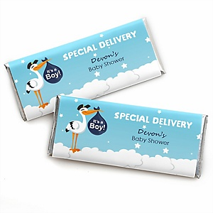 Boy Special Delivery - Personalized Candy Bar Wrapper Blue Stork Baby Shower Favors- Set of 24