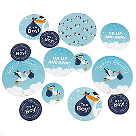 Boy Special Delivery - Blue Stork Baby Shower Giant Circle Confetti - Baby Shower Decorations - Large Confetti 27 Count