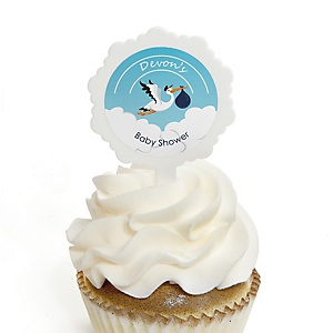Boy Special Delivery - 12 Cupcake Picks & 24 Personalized Stickers - Blue Stork Baby Shower Cupcake Toppers
