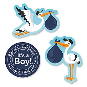 Boy Special Delivery - DIY Shaped Blue Stork Baby Shower Paper Cut-Outs - 24 ct