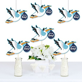 Boy Special Delivery - Decorations DIY Blue Stork Baby Shower Essentials - Set of 20