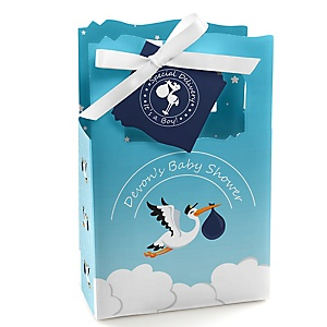 Boy Special Delivery - Personalized Blue Stork Baby Shower Favor Boxes - Set of 12