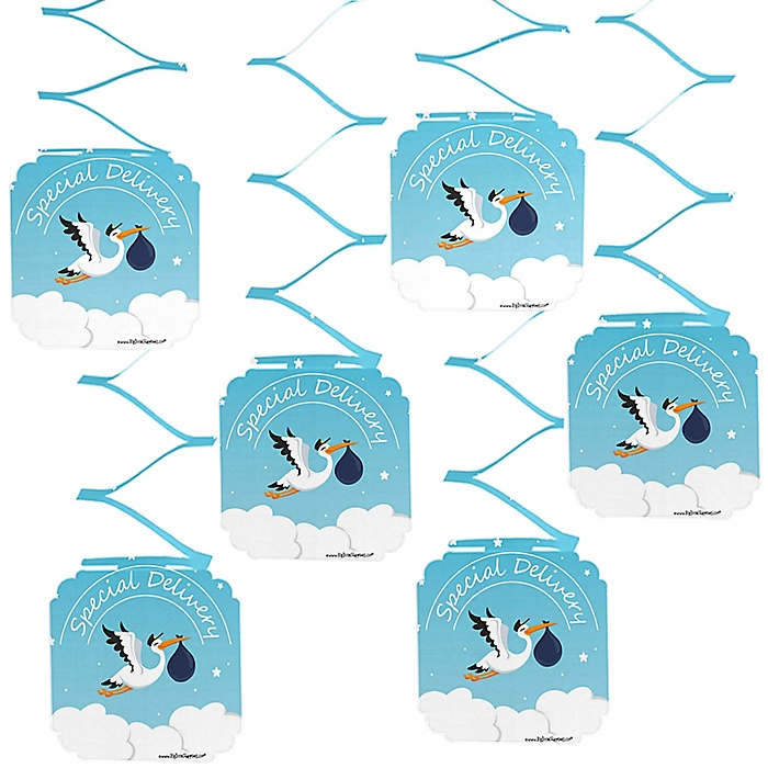 Boy Special Delivery - Blue Stork Baby Shower Hanging Decorations - 6 ct