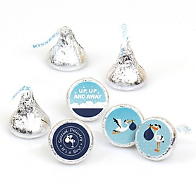 Boy Special Delivery - Blue Stork Baby Shower Round Candy Labels Party Favors - Fits Hershey's Kisses - 108 ct