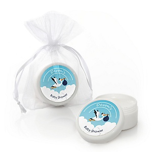 Boy Special Delivery - Personalized Blue Stork Baby Shower Lip Balm Favors - Set of 12