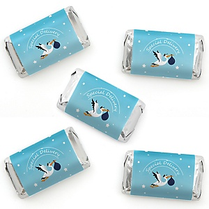 Boy Special Delivery - Mini Candy Bar Wrapper Stickers - It's A Boy Stork Baby Shower Small Favors - 40 Count