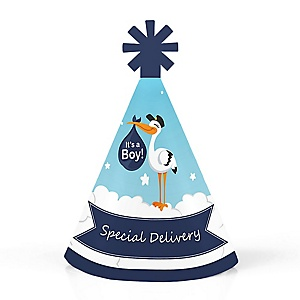 Boy Special Delivery - Personalized Mini Cone Blue Stork Baby Shower Party Hats - Small Little Party Hats - Set of 10