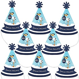 Boy Special Delivery - Mini Cone Blue Stork Baby Shower Party Hats - Small Little Party Hats - Set of 8