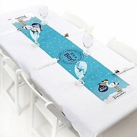 Boy Special Delivery - Personalized Blue Stork Baby Shower Petite Table Runner