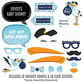 Boy Special Delivery - 20 Piece Blue Stork Baby Shower Photo Booth Props Kit