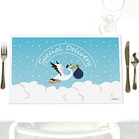 Boy Special Delivery - Party Table Decorations - Blue Stork Baby Shower Placemats - Set of 12