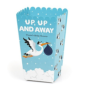 Boy Special Delivery - Personalized Blue Stork Baby Shower Popcorn Favor Treat Boxes - Set of 12