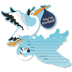 Boy Special Delivery - Shaped Fill-In Invitations - Blue Stork Baby Shower Invitation Cards with Envelopes - Set of 12