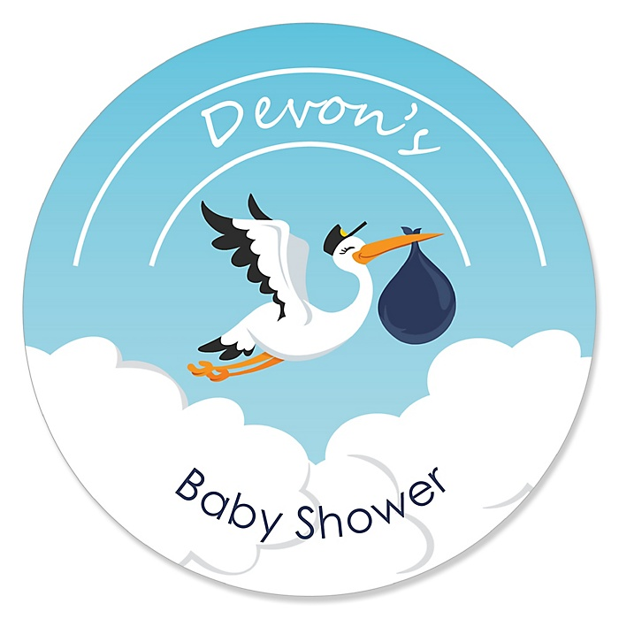 Boy Special Delivery - Personalized Blue Stork Baby Shower Sticker Labels - 24 ct
