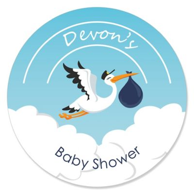 Boy Special Delivery   Personalized Blue Stork Baby Shower Sticker Labels    24 Ct