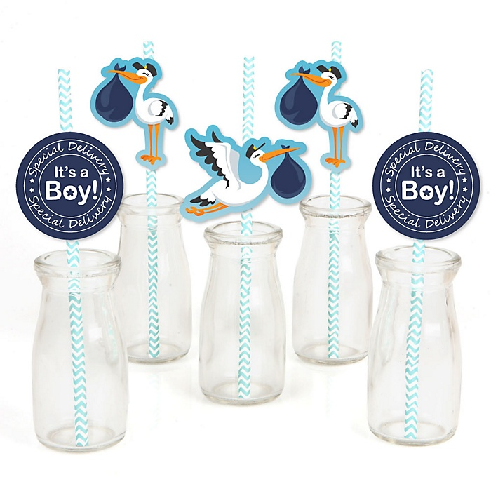 Boy Special Delivery - Paper Straw Decor - Blue Stork Baby Shower Striped Decorative Straws - Set of 24