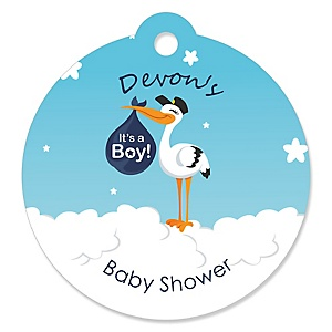 Boy Special Delivery - Personalized Blue Stork Baby Shower Tags - 20 ct