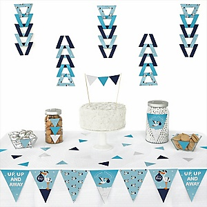 Boy Special Delivery -  Triangle Blue Stork Baby Shower Decoration Kit - 72 Piece