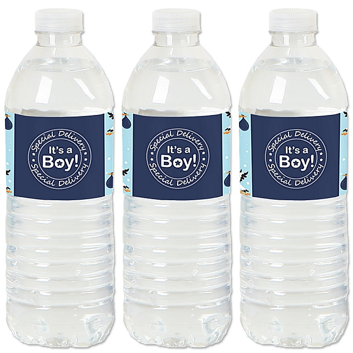 Boy Special Delivery - It's A Boy Stork Baby Shower Water Bottle Sticker Labels - Set of 20
