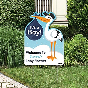 Boy Special Delivery - Baby Shower Decorations - Blue Stork Baby Announcement & Welcome Yard Sign