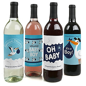 Boy Special Delivery - Decorations for Women and Men - Wine Bottle Labels Blue Stork Baby Gift - Set of 4