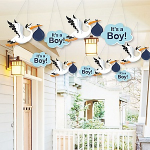 Hanging Special Delivery Boy – Baby Arrival Signs - Outdoor Blue Stork Baby Shower Hanging Porch & Tree Yard Decorations - 10 Pieces