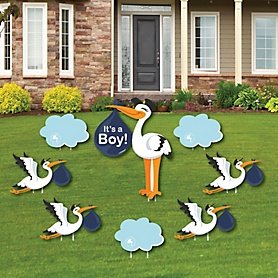 Boy Special Delivery – Baby Announcement Yard Sign & Outdoor Lawn Decorations - Blue Stork Baby Shower Yard Signs - Set of 8