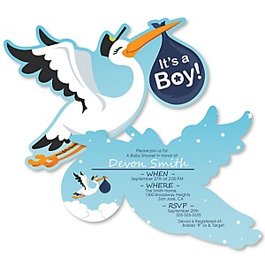 Boy Special Delivery - Shaped Blue Stork Baby Shower Invitations - Set of 12