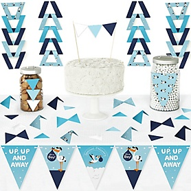 Boy Special Delivery - DIY Pennant Banner Decorations - It's A Boy Stork Baby Shower Triangle Kit - 99 Pieces
