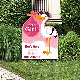 Girl Special Delivery - Baby Arrival Sign - Pink Stork Baby Announcement Yard Sign