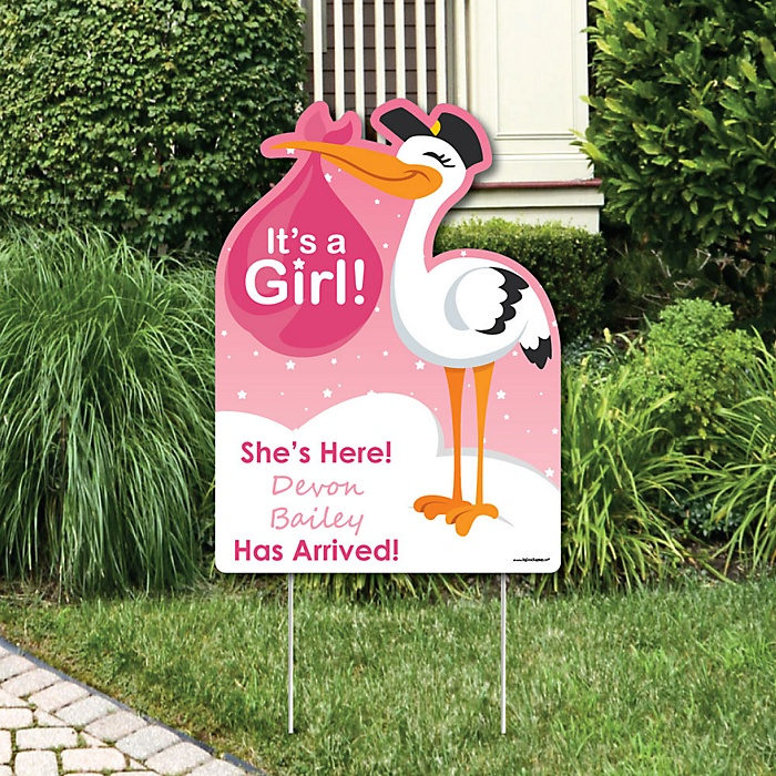 Girl Special Delivery Baby Arrival Sign Pink Stork