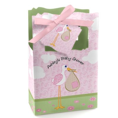 Stork Baby Girl   Personalized Baby Shower Favor Boxes
