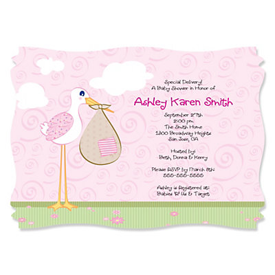 Stork Baby Girl Personalized Baby Shower Invitations – Stork Party Invites
