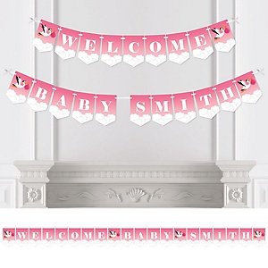 Girl Special Delivery - Personalized Pink Stork Baby Shower Bunting Banner & Decorations